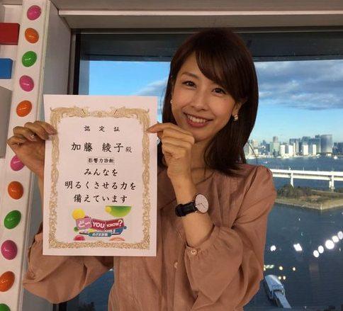 加藤綾子(カトパン)がアナウンサーを目指すきっかけとなった理由に日村がっかり